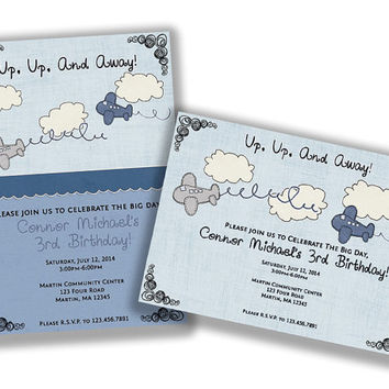 Airplane Birthday Invitation - Boy 1st Birthday Vintage Airplanes Birthday Party - Blue Plane Doodles - Rustic Sketch - 1st Birthday Boy
