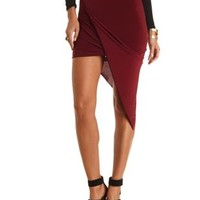 Draped Asymmetrical Wrap Skirt by Charlotte Russe - Burgundy