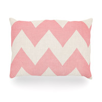 "Catherine McDonald ""Sweet Kisses"" Pink Chevron Oblong Pillow"