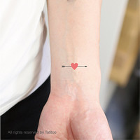Arrow heart, 2 pcs, temporary tattoo, valentine's  - Temporary Tattoo T272