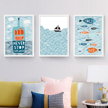 Cartoon Fish Ocean Motivational Typography Quotes Mediterranean Art Print Poster Nautical Wall Picture Canvas Painting Home Deco