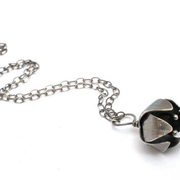 Flower Bud Necklace in Oxidized Sterling Silver- Botanical Artisan Metal Work Pendant Necklace