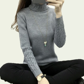Thickening Warm Knitting Sweaters And Pullovers Casual Slim Elastic Turtleneck Knitwear Female Coat