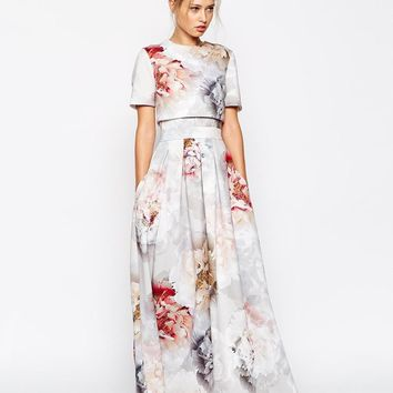 ASOS | ASOS SALON Scuba Floral Crop Top Maxi Dress at ASOS