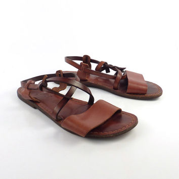 Leather Woven Sandals Vintage 1980s HH Brown Camel Huaraches Women's size 8 M