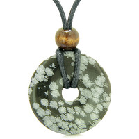 Amulet Magic Large Coin Shaped Donut Positive Powers Snowflake Obsidian Healing Lucky Charm Necklace