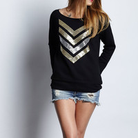 Sequin Chevron Sweatshirt Jumper - Gold and Silver Sequin Chevron Patch Jumper 1D Liam Payne Tattoo