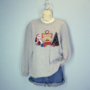 1980s Ugly Christmas Sweatshirt, Embroidered Sweatshirt, Holiday Party Top, Christmas Sweater, L