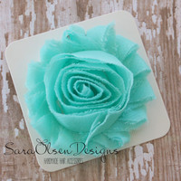 Flower Hair Clip, Mint Green Rosette, Frayed Chiffon Hairclip, Children's Hair Accessories, Toddler Hairclip, Girls Bow, Flower Hairclip