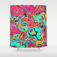 Abstract Colorful Marble Shower Curtain by tmarchev