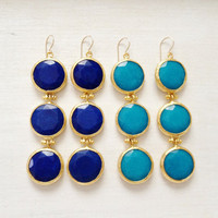 BRIGHT  fashion LARGE long bold  triple earrings cobalt or turquoise blue jade stone  gold statment earrings israel