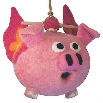 Felt Birdhouse Flying Pig - Wild Woolies