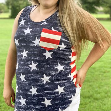 Fireworks in the Sky Stars + Stripes Tank - Plus Size