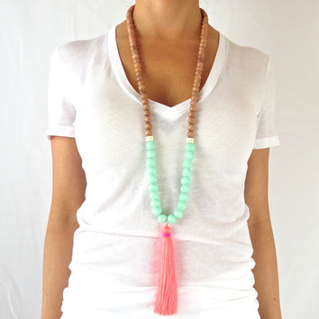 Boho Tassel Necklace - Aqua with Neon Pink Tassel