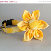 ON SALE Cat Collar and Flower or Bow Tie - Yellow Chevron