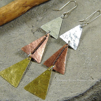 Triangle Earrings, Pyramid Mix Metal, Long Dangle, Geometric, Gold Silver Copper, Gypsy Jewelry, Modern, Art Deco, Copper Sun