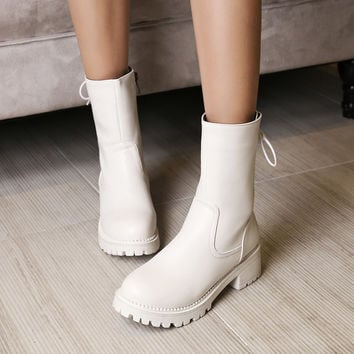 Round Toe Mid Calf Boots Zipper Lace Up Motorcycle Boots Women Shoes 75998856