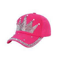 2017 New! Bling Rhinestone Crown Hot Pink Baseball Cap