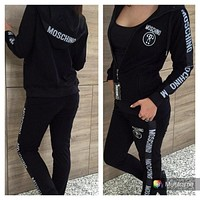 Moschino's new women's sports and leisure print suit black