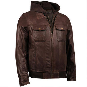 Black Rivet Jumble Hooded Leather Bomber - Hooded - Men's - Wilsonsleather - Categories - Wilsons Leather