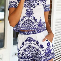 CUTE BLUE TWO PIECE ROMPER