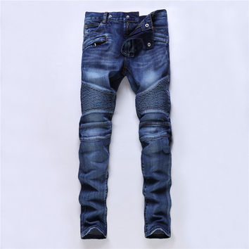 Pleated Biker Jeans Men Casual Distressed Denim Mens Jeans Brand Slim Fit Straight Male Jogger Pants Hipster Designer Trousers