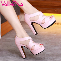 VALLKIN 2017 Sexy Peep Toe White Gladiator Summer Women Shoes Thick High Heel Woman Pumps Zipper Wedding /party Shoes Size 34-43