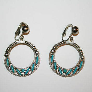 Large Turquoise Clip on earrings | Vintage |  - free ship US