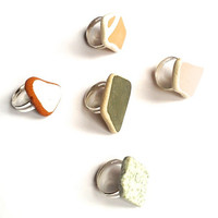 Sea tumbled ceramic rings, handmade, adjustable, silver plated, various colours, teenagers, fashion jewellery, casual rings