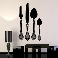 Vinyl Decal Wall Flatware Cutlery Kitchen Restaurant Decoration Stickers (066ig)