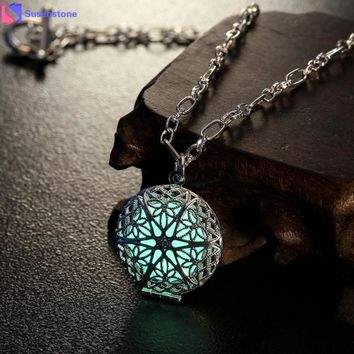 Beautiful Goth, Wicca Fire Luminous Charm Locket Necklace