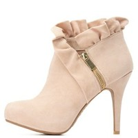 Bamboo Ruffle Cuff Bootie by Charlotte Russe - Nude