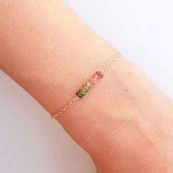 Rainbow Tourmaline Beaded Bracelet - OOAK Jewelry