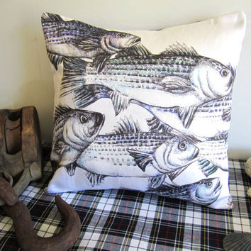 Nautical Pillow - Fish Pillow Cover - Plaid Pillow Cover - Decorative Pillow - Original Striped Bass Drawing by Michele Soares