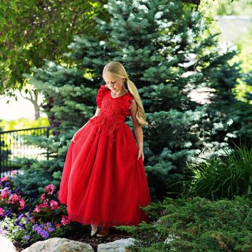 Ariana Red Petal Sleeve Satin & Lace Gown Dress