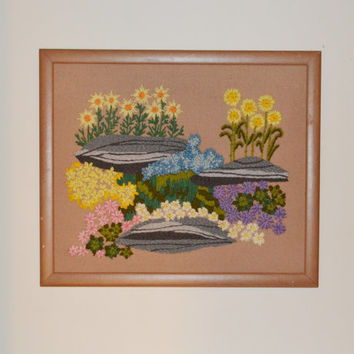 Vintage Crewel Embroidery Picture Flowers Meadow Nature Picture Embroidery Wall Hanging Wall Art 70s Bohemian Style