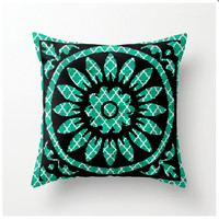 Decorative Throw Pillow Turquoise blue tile print - home decor - accent pillow - accent cushion, turquoise room accessories, toss pillow