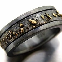 mens wedding band, black gold ring men, viking wedding band, bold mens wedding ring rustic, black gold man wedding ring, gold wedding band