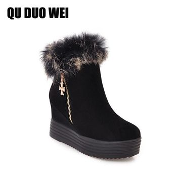 QUDUOWEI 2018 New Winter Warm Fur Women Snow Boots Female Side Zipper Wedge Boots Shoes Woman Suede Leather  Platform Booties