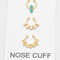 3 pc Gold Crystal Turquoise Fake Septum Piercing Set, Faux Nose Ring