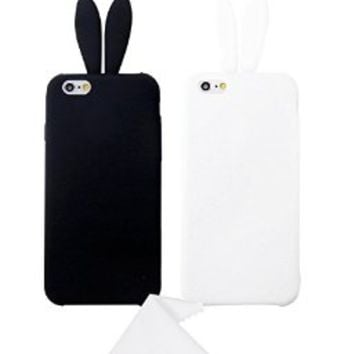 iPhone 6 Case,Cute Lovely Rabbit Silicone Bunny Case Cover Protector For Apple iPhone 6 6G 4.7 inch with Furry Tail -- Pack (x2)Black,White,With Free Cleaning Cloth As a Gift