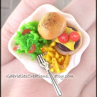 Burger Ring - Realistic Miniature Food Jewelry - Burger Fries Salad Fork - Kawaii - Polymer Clay Handmade Ring - Junk Food Mini