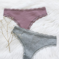 Candice Panty Set - Plum & Heather Gray