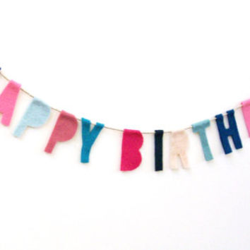 Happy Birthday felt party banner, birthday banner, party garland in blue, pink, rose, hot pink, teal, baby blue