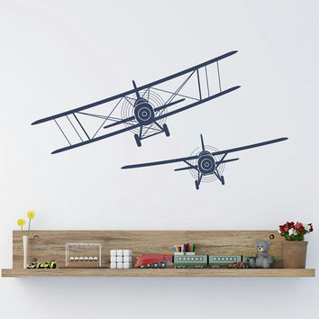 Biplane Wall Decals Stickers Airplane Plane Vinyl Decal Children Playroom  Boys Kids Ba
