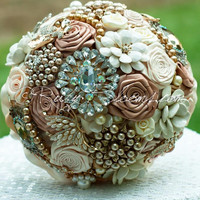 Rustic Pearls toffee nude country wedding brooch bouquet
