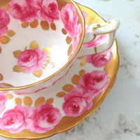 Antique Royal Chelsea English Bone China Tea Cup & Saucer Made in England Wedding, Thank You or Housewarming Gift Inspiration Ca. 1950's