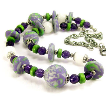 Polymer Clay Wood & Stone Purple Green | BobblesByCarol