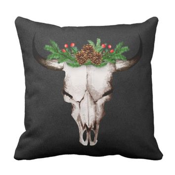 Rustic Christmas Bull Skull Throw Pillow