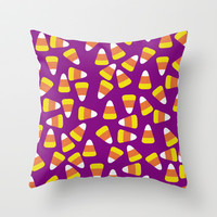 Candy Corn Jumble (purple background) Throw Pillow by Lisa Argyropoulos